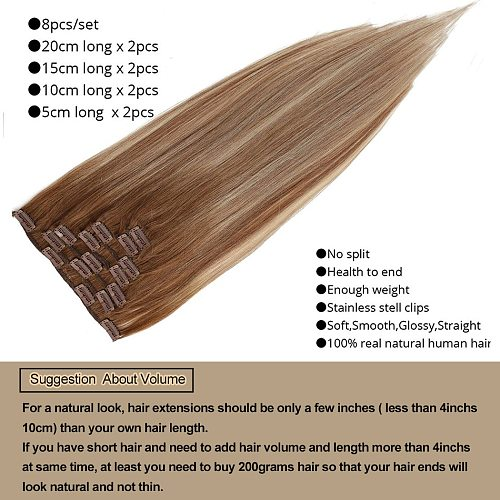 MRSHAIR Human Hair Extensions Ombre Silver Balayage Highlights Remy Hair Clip in Hair Extensions Straight 7pcs/set 14 18 20 Inch