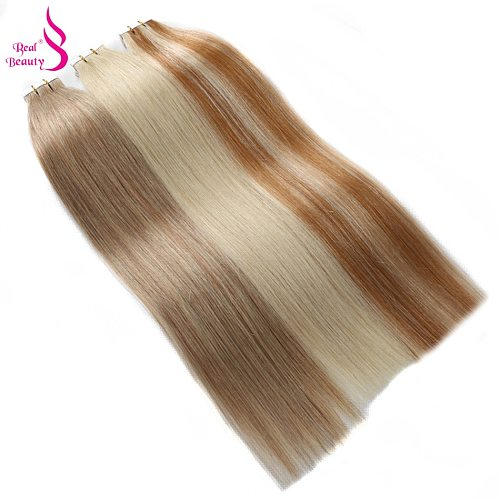 Real Beauty 20pcs Straight Adhesive Tape In Hair Extension Seamless Invisible  Brazilian Remy Human Hair Blond Balayage  Color