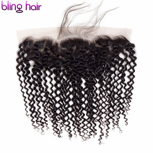 Bling Hair Kinky Curly 13*4 Lace Frontal Closure With Baby Hair Natural Color Peruvian 100% Remy Human Hair Closure 8-22 Inch