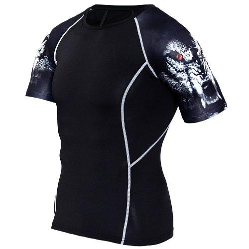 Rashgard Sport Shirt Men 3D Print Short Sleeve Running Shirt Sportswear T Shirt Compression Shirts Fitness Gym Dry Fit T-shirt
