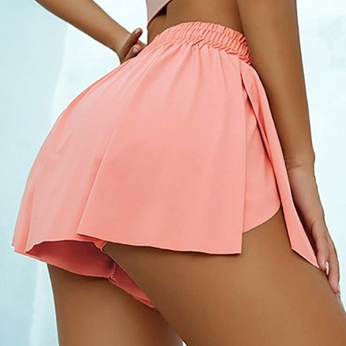 Soild color Tennis Skirt Sports Running Shorts Tennis Pantskirt Yoga short Double-Layer Workout Yoga shorts Exercise shorts