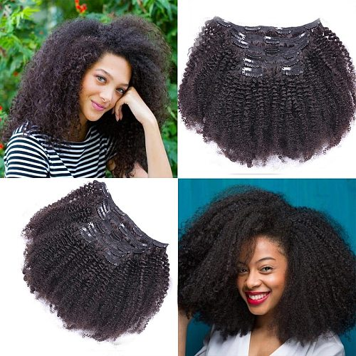 Afro Curly Clip In Human Hair Extensions 8pcs/set Brazilian African American Clip In Human Hair Extensions Clip Ins Curl Coily