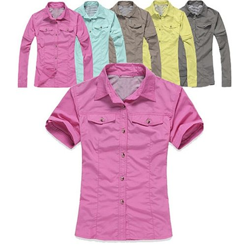 2020 New Women Summer Removable Fishing Shirt Outdoor Sport Quick Dry Removable Shirts Breathable UV Hiking Camping Clothing 092