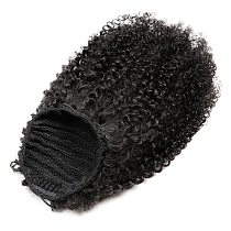 Afro Kinky Curly Ponytail Human Hair Extensions Clip Ins 10 -18  Brazilian Hair Ponytail Cuticles Remy Hair For Black Women