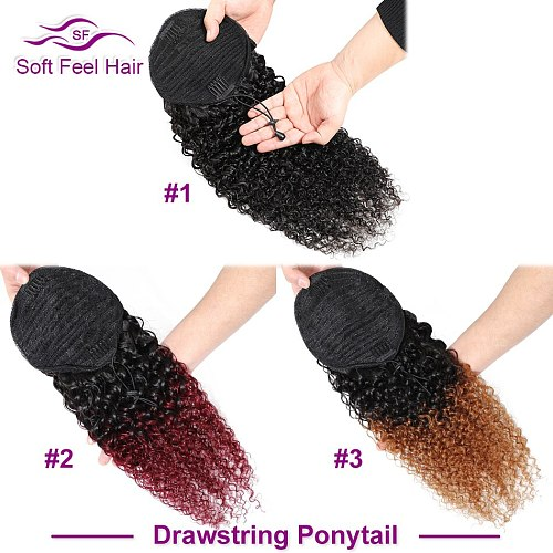 Soft Feel Hair Kinky Curly Ponytail Human Hair For Women Remy Clip Ins Brazilian Wrap Around And Drawstring Ponytail Extensions
