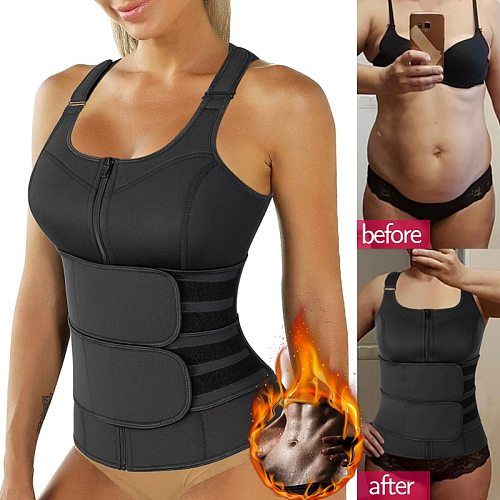 Waist Trainer Corset Sweat Vest Weight Loss Slimming Body Shaper Workout Tank Tops Compression Shirt Fat Burning Trimmer Suit