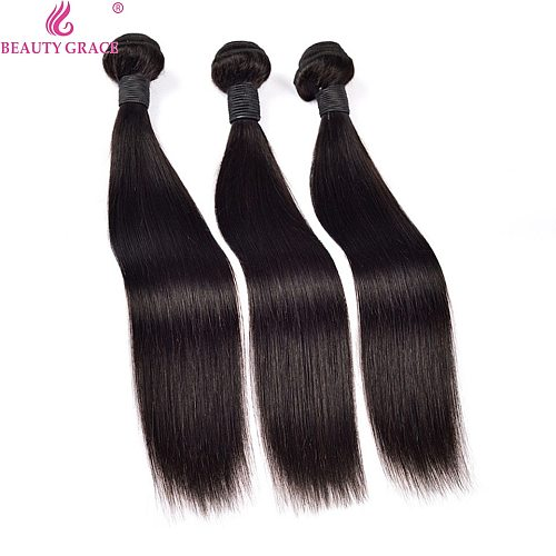 BEAUTY GRACE Straight Hair 3 Bundle Deals Human Hair Bundles Remy Hair Extensions Brazilian Hair Weave Bundles