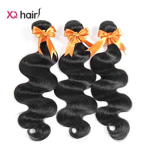 XQ hair Malaysian Body Wave 3 Bundles 100 Human Hair Weave Natural Color Non Remy 8-26 Inch Human Hair Extensions