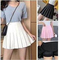 Girl Solid Tennis Skirt Pleated Skorts Hight Waist School Uniforms Dance Skirt With Inner Shorts Yoga Golf Badminton Short Dress