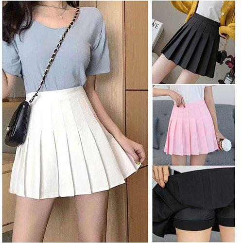 Girl Solid Tennis Skirt Pleated Skorts Hight Waist School Uniforms Dance Skirt With Inner Shorts Yoga Golf Badminton Short Dress
