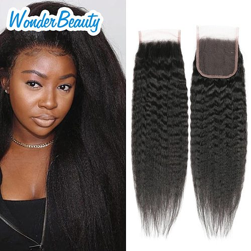Wonder Beauty Brazilian Free/Three/Middle Part Kinky Straight Hair Wig Human Hair Lace Closure Wigs Remy 4x4 5x5 Closure