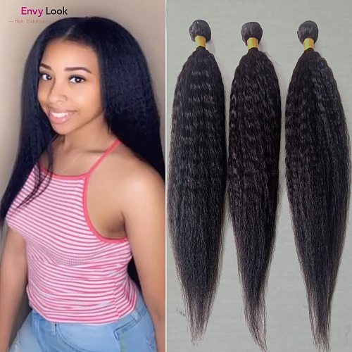 Envy Look Natural Black Color Brazilian Virgin Kinky Straight Human Hair 3/4 Bundles Machine Remy Double Weft For Full Head