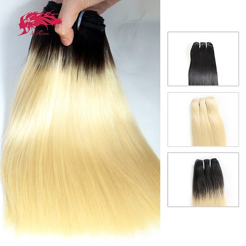 Ali Queen Blonde Ombre Raw Brazilian Unprocessed Virgin Hair One-Donor Mink Human Hair Bundle Natural Color Double Drawn Weft