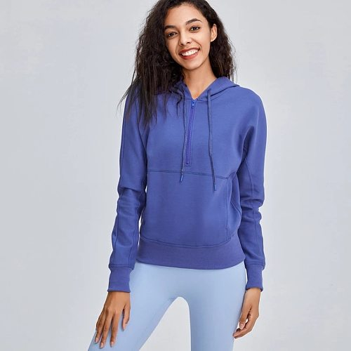 NWT Woman Half Zipper Workout Sport Hoodies Women Comfortable Training Fitness Leisure Sweatshirts Pullover with Pocket