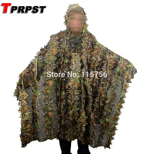 TPRPST Camo 3D Leaf cloak Yowie Ghillie Breathable Open Poncho Type Camouflage Birdwatching Poncho Sniper Suit