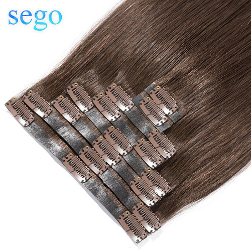 SEGO 22  90g-110g 100% Real Hair Clip in Human Hair Extension Seamless PU Tape in Clip in Manchine Remy Brazilian Hair 8Pcs/set