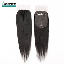 Human Hair Closure Brazilian Straight Closure 2x4 Lace Closure Non-Remy Human Hair Middle Part Closure With Baby Hair For Woman