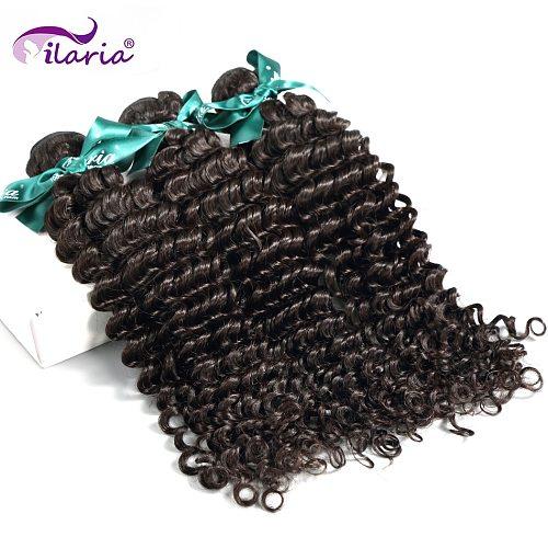 ILARIA Brazilian Curly Human Hair Deep Wave 3 Bundles Unprocessed Remy Human Hair Weaves Bundles Natural Color Hair Weft