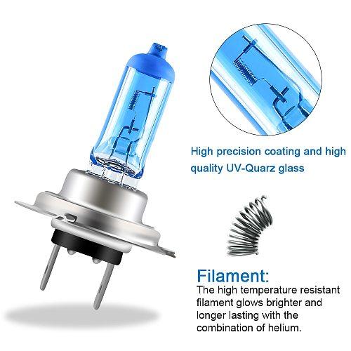 2pcs Super Bright Halogen Bulbs H1 H3 H4 H7 H8 H11 9006 Auto Halogen Lamp Fog Lights 55W 12V 5000K Motorcycle Car Headlight Lamp