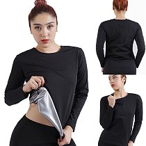Women Sports Sweating Shirts Long Sleeve Running Fitness Training Quick Sweating and Heat Gathering Inner Silver Coating Tees
