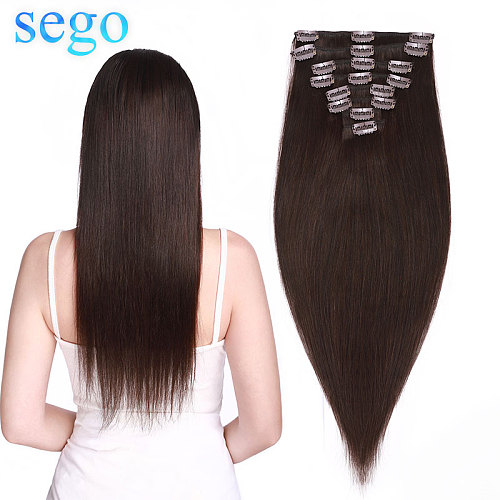 SEGO 8 -24  70G-120G Clip in Human Hair Extensions Straight 8pc Set Machine Remy Clip In Brazilian Natural Hair Blonde Hair Clip