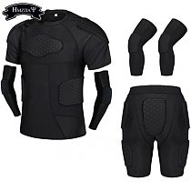 Thickened Compression Crash Shorts Short Sleeve Suit Football Basketball Skating Rugby Elbow Kneepads Waist Crash Guard Suit Set