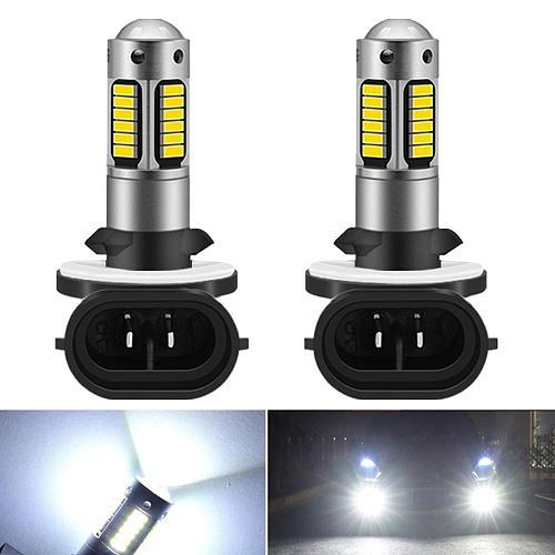 2Pcs H27 Led 881 Led Bulb H27W2 Car Fog Light Front Head Driving Running Lamp Auto 12V H27W/2 H27W LED White 880 H1 H3 Led Bulbs