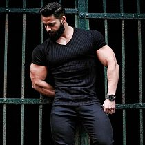 Running V Neck Short Sleeve T Shirt Men Fitness Slim Fit Sports Strips T-shirt Fashion Tees Tops Summer Knitted Gym Clothing