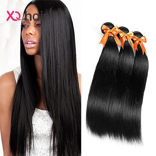 XQ 100% Human Natural Hair Malaysian Straight Remy Hair Weave Bundles 3 Bundles From 8 to 26 inch Natural Color Products