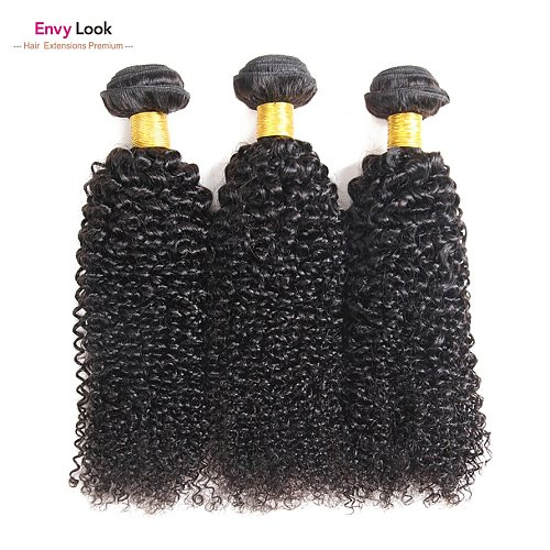 Envy Look Natural Color Afro Kinky Curly 3/4 Bundles Machine Remy Brazilian Human Hair Double Weft For Black Women Salon