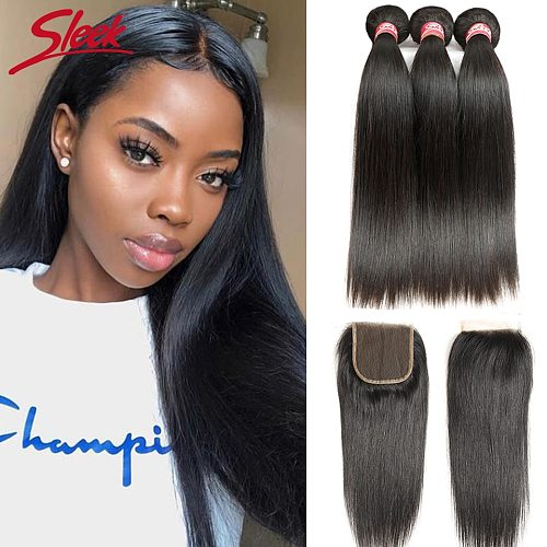 Sleek Brazilian Straight Hair Bundles With Closure Natural Color Hair Weave 30 Inch Remy Human Hair 3 Bundles With Closure