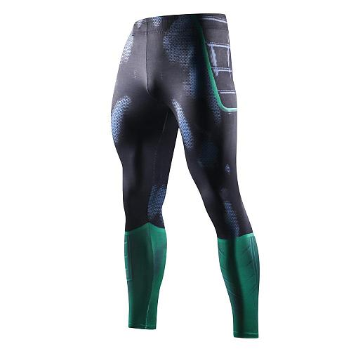Men Compression Tight Leggings Running Sports Men Print Gym Fitness Jogging Pants Quick Dry Trousers Workout Training Basketball