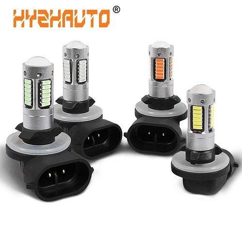 HYZHAUTO 1Pcs H27 881 LED Fog Lamp 4014 30SMD Car LED Fog Lights Day Running Light Driving Lamp 12V 6000K White Yellow Ice Blue