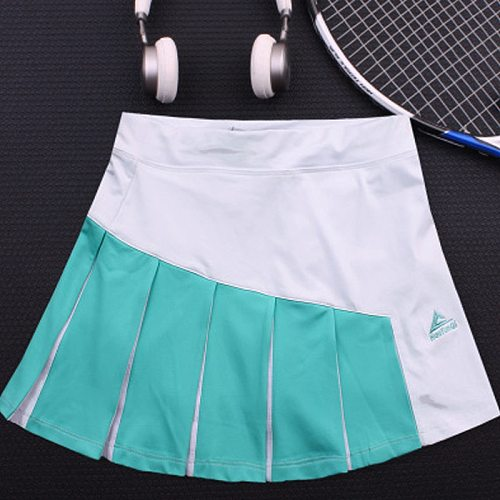 Women's sports tennis skirt, breathable double-layer running pleated skirt,Contrast color badminton short skirt with pockets