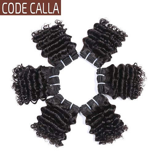 Short Deep Wave Hair Bundles Malaysian Curly Human Hair Weaving 6 inches Double Draw Remy Hair Extensions Natural Black Color