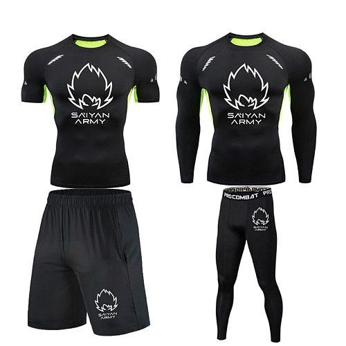 Brand Men Running Set Compression T shirt Tight Pants Sport Suit Gym Jogging Fitness Sportswear Trained Rashguard Tshirt Men MMA