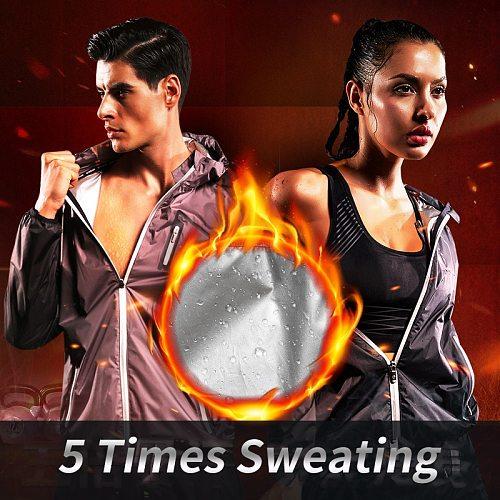 VANSYDICAL Gym Clothing Set Men Women Zipper Hooides Sportswear Running Fitness Training Weight Loss Sweating Sauna Sports Suit