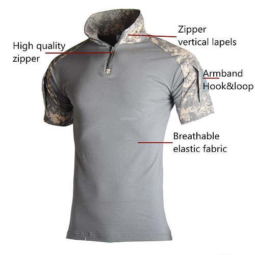 Camouflage Tactical Short Shirts Breathable Summer Military Training Sports Shirts Clothes Hunting Shooting Short Sleeve Shirts