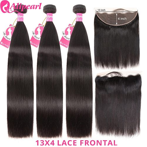 Ali Pearl Brazilian Straight Human Hair Bundles With 13x4 Lace Frontal Pre Plucked Remy Hair For Black Women AliPearl Hair