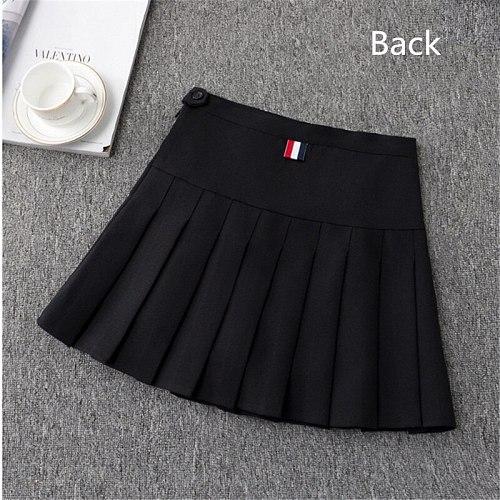 Girls Tennis Skirt High Waist Skirt Uniform with Inner Shorts Underpants Badminton Cheerleader 2 in 1 Skirt Sports Skirt