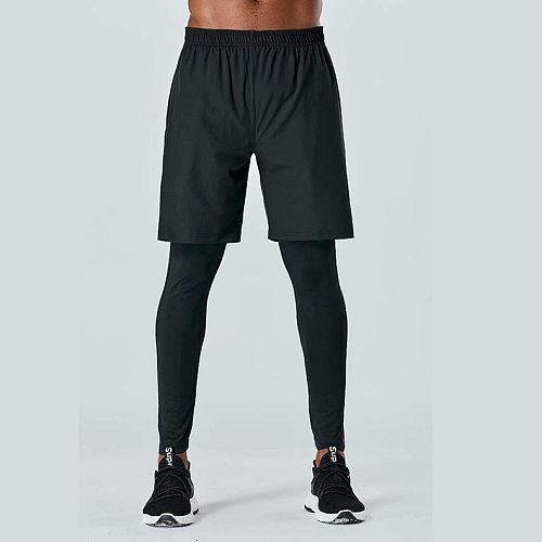 New Men's Fake Two-piece Tight Pants Running Fitness Drawstring Sweatpants Elastic Quick-drying Trousers Man Running Sport Pants