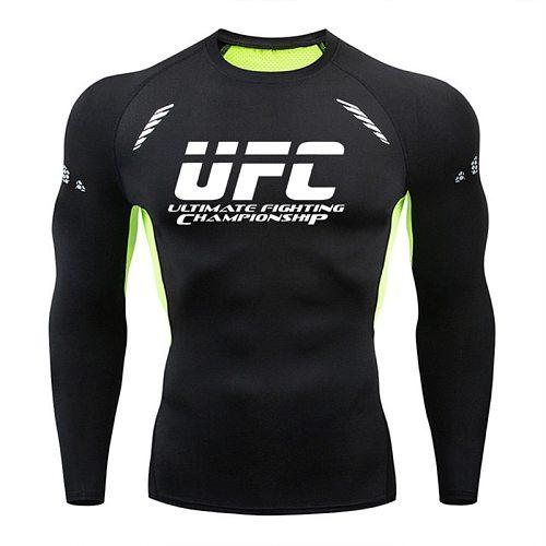 Rashguard Men's Sports Running T Shirt Men's Brand Gym Fitness MMA Training Shirts Sportswear Top Quick Dry Tight Men Jerseys