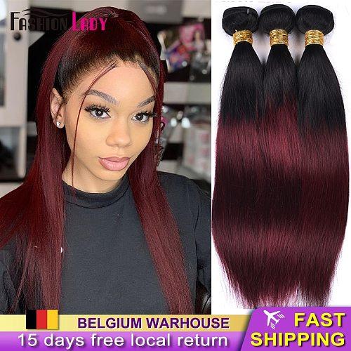 FASHION LADY Pre-Colored Brazilian Straight Hair Bundles Hair Extensions Human Hair 1b99j Brazilian Weave Ombre Bundles Non-remy