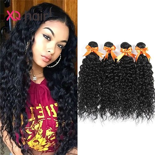 XQ Hair Water Curly hair 4 Bundles For Women Malaysian  Natural Color Wave Bundles Non Remy Hair  100% Human Hair Extensions