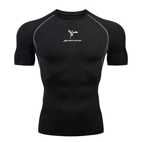 Black t-shirt men's shirt T-shirt short sleeve compression shirts gym T shirt Fitness sport tight shirt sportswear