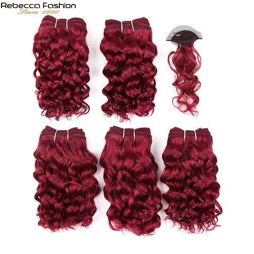 REBECCA Sparkle Curl Short Curly Hair Bundles With Closure Double Drawn Remy Human Hair 158 5 Hair Bundles With Closure