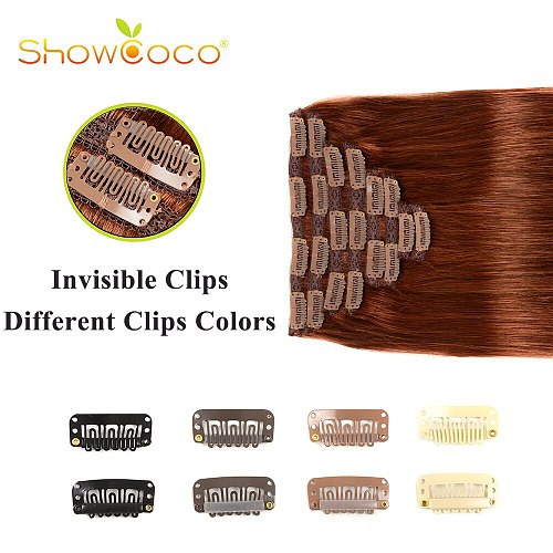 Natural Hair Clip Ins Machine-Made Remy Human Hair Clips With Lace 80 140 220g Silky Straight Showcoco Clip In Hair