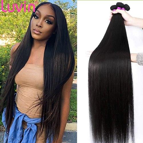 Luvin hair bundles 30 32 40 inch Long Straight Hair Bundles 100% Human Hair Bundles Remy hair extensions Brazilian Hair Weaving