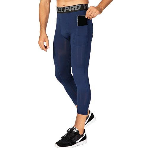 3/4 Length Compression Pants Men Basketball Leggings Mens Workout Capri Legging Fitness Men With Pockets Gym Tights