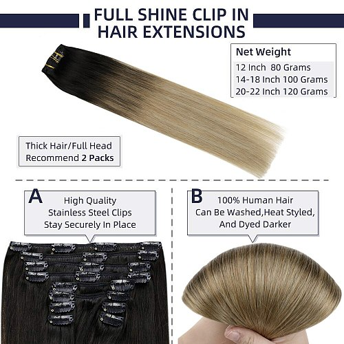 Full Shine Clip In Human Hair Extensions Balayage Ombre Blonde Black Hairpins 7pcs 120g Double Weft 100% Machine Remy For Woman